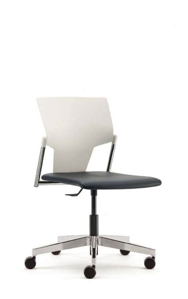 Pledge Ikon Chair With Upholstered Seat And Plastic Back Including Swivel Mechanism. Optional Arms